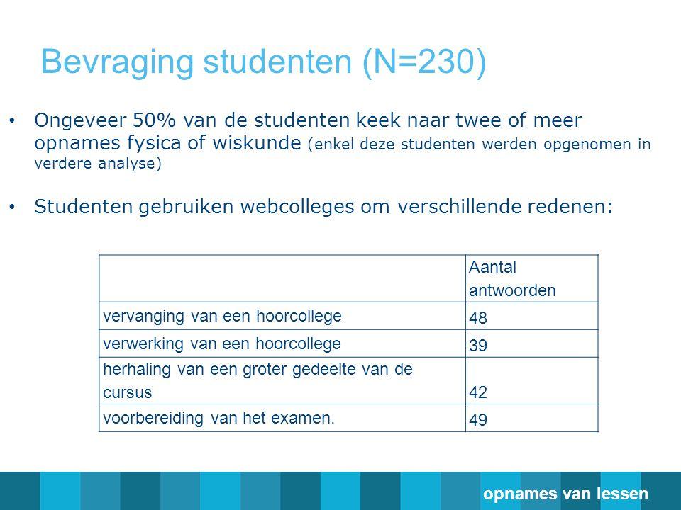 Bevraging studenten (N=230) Aantal antwoorden vervanging van een hoorcollege 48 verwerking van een hoorcollege 39 herhaling van een groter gedeelte van de cursus 42 voorbereiding van het examen.