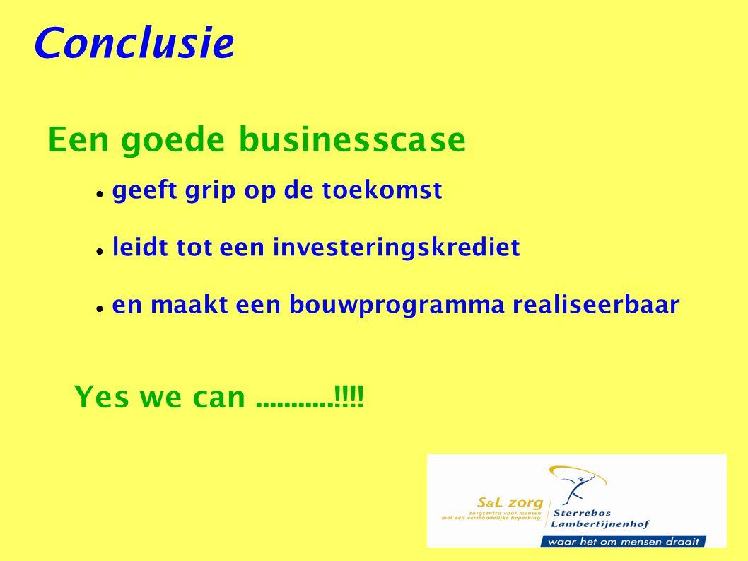 Conclusie Een goede businesscase geeft grip op de toekomst leidt tot een investeringskrediet en maakt een bouwprogramma realiseerbaar Yes we can......