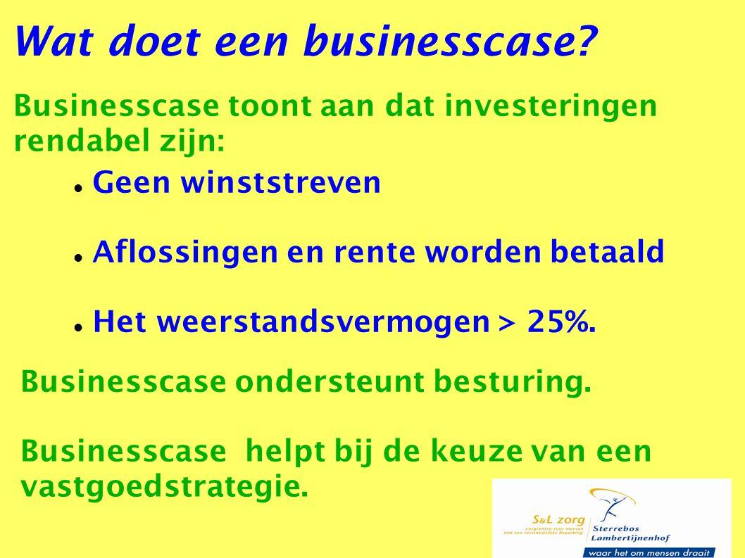 Businesscase toont aan dat investeringen rendabel zijn: Wat doet een businesscase? Geen winststreven Aflossingen en rente worden betaald Het weerstand
