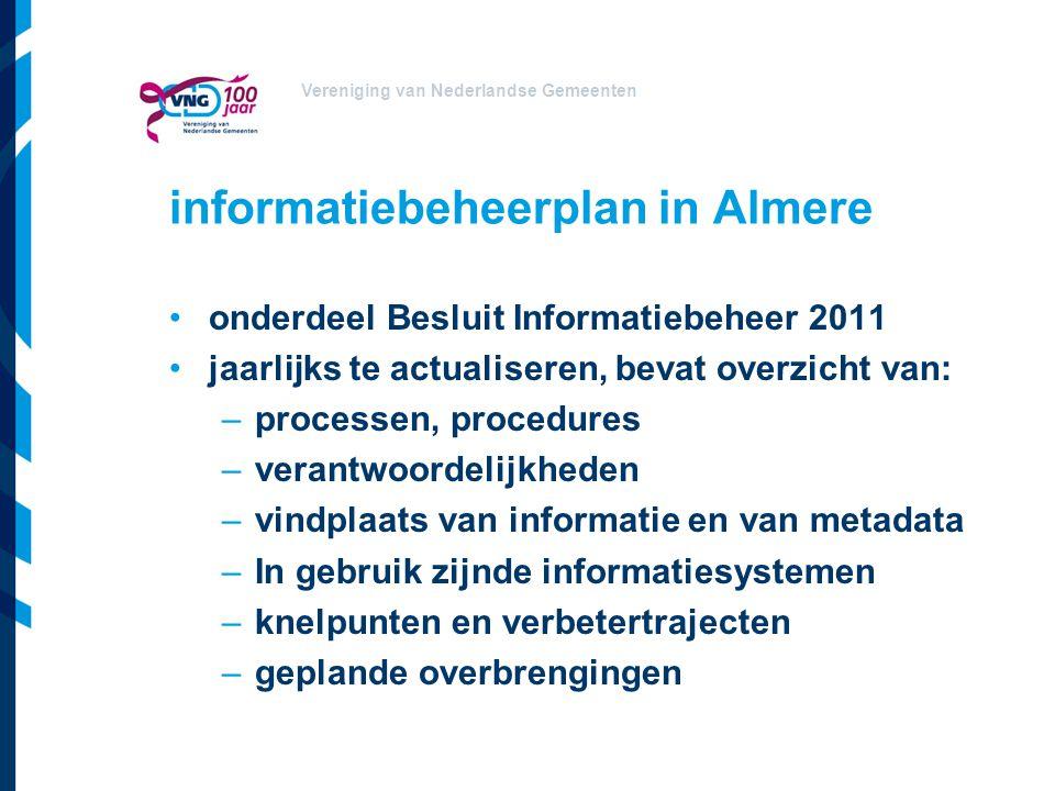Vereniging van Nederlandse Gemeenten informatiebeheerplan in Almere onderdeel Besluit Informatiebeheer 2011 jaarlijks te actualiseren, bevat overzicht