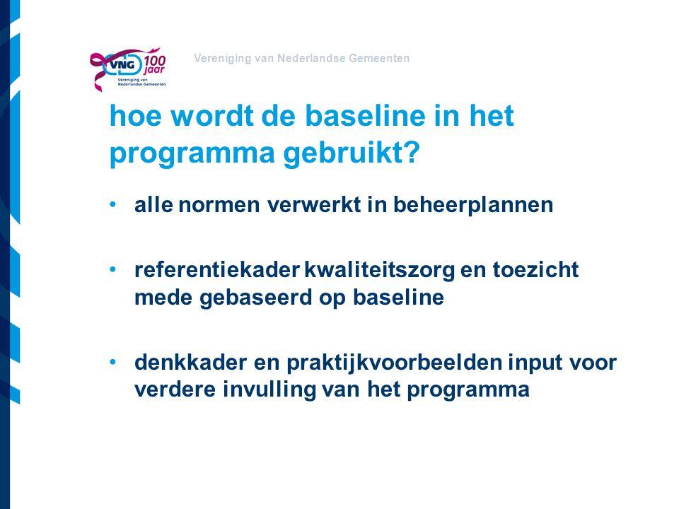 Vereniging van Nederlandse Gemeenten hoe wordt de baseline in het programma gebruikt? alle normen verwerkt in beheerplannen referentiekader kwaliteits