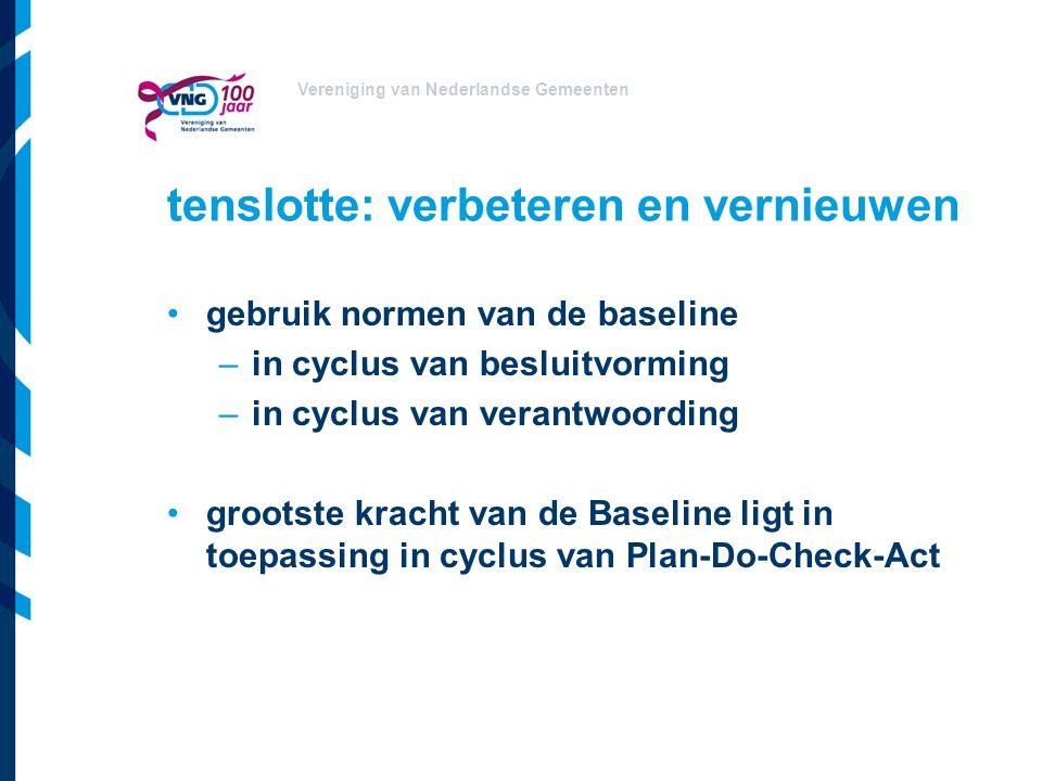 Vereniging van Nederlandse Gemeenten tenslotte: verbeteren en vernieuwen gebruik normen van de baseline –in cyclus van besluitvorming –in cyclus van v