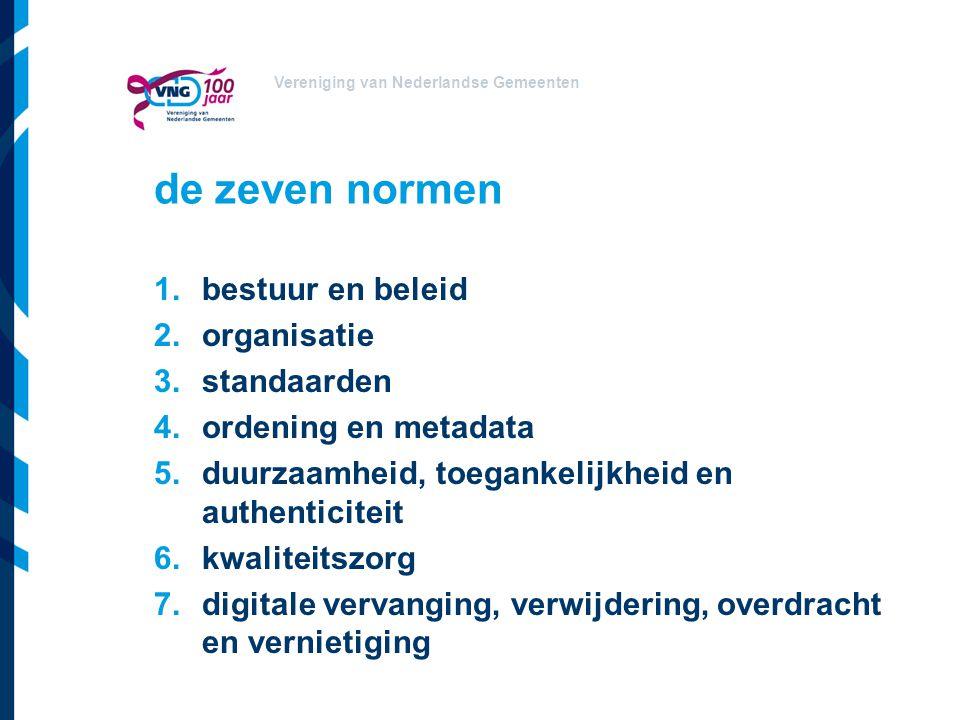 Vereniging van Nederlandse Gemeenten de zeven normen 1.bestuur en beleid 2.organisatie 3.standaarden 4.ordening en metadata 5.duurzaamheid, toegankeli