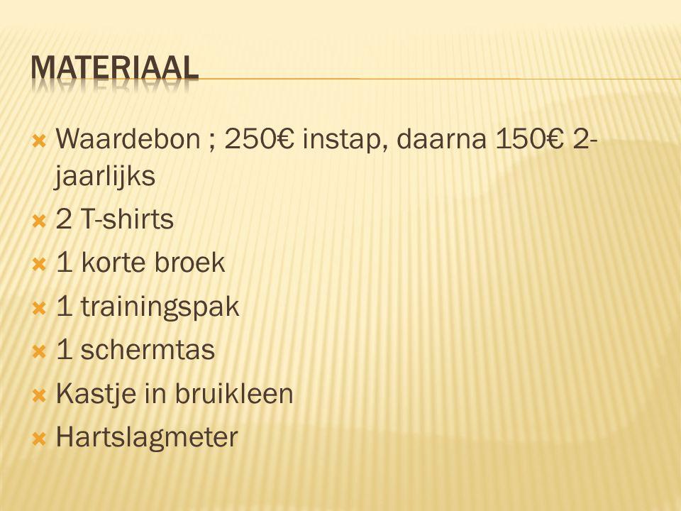  Waardebon ; 250€ instap, daarna 150€ 2- jaarlijks  2 T-shirts  1 korte broek  1 trainingspak  1 schermtas  Kastje in bruikleen  Hartslagmeter