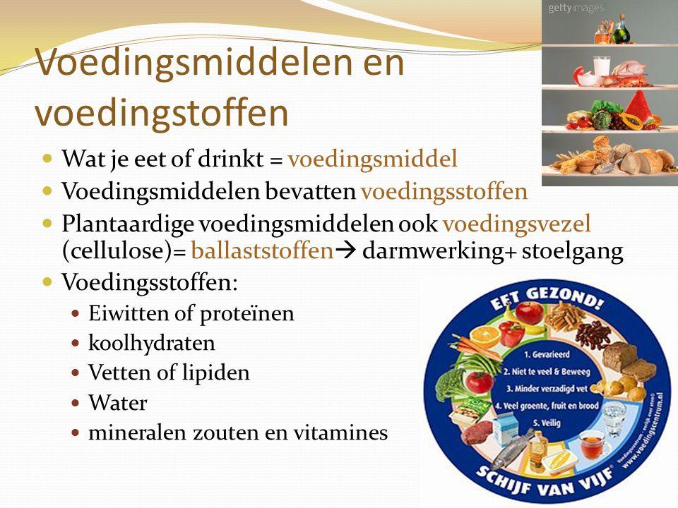 Voedingsmiddelen en voedingstoffen Wat je eet of drinkt = voedingsmiddel Voedingsmiddelen bevatten voedingsstoffen Plantaardige voedingsmiddelen ook v