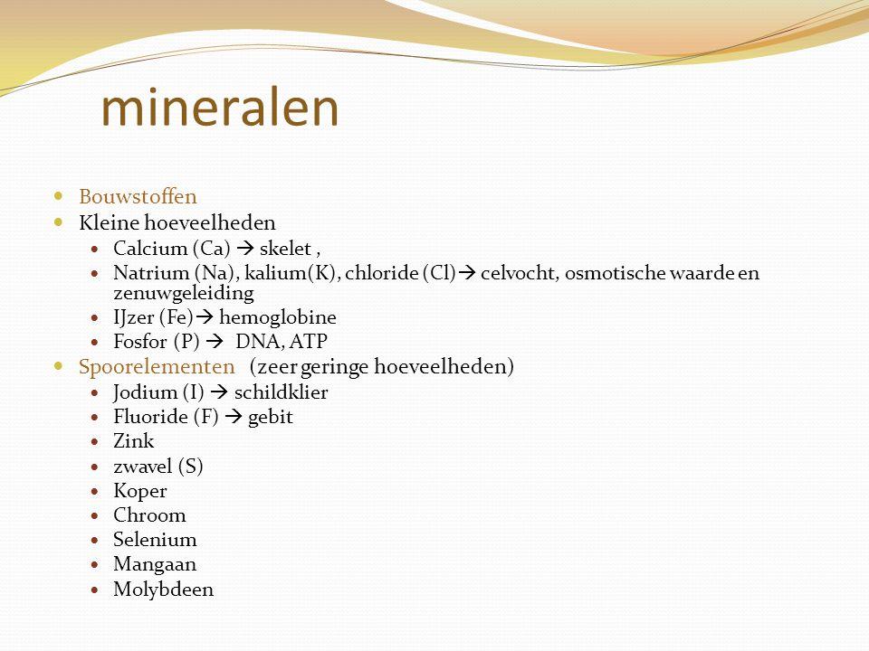 mineralen Bouwstoffen Kleine hoeveelheden Calcium (Ca)  skelet, Natrium (Na), kalium(K), chloride (Cl)  celvocht, osmotische waarde en zenuwgeleidin