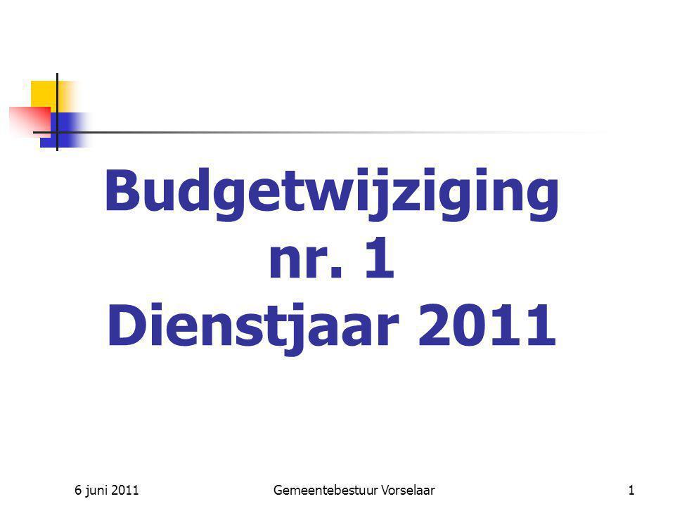 6 juni 2011Gemeentebestuur Vorselaar12 UITGAVEN – Buitengewone dienst vorige jaren Nieuw krediet : Meerwerken : asfalteringswerken 2009, polyvalente zaal, Vorselaar- Noord Tabel :