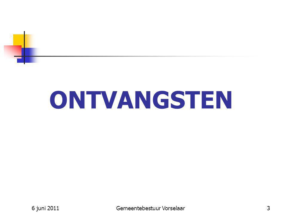 6 juni 2011Gemeentebestuur Vorselaar3 ONTVANGSTEN