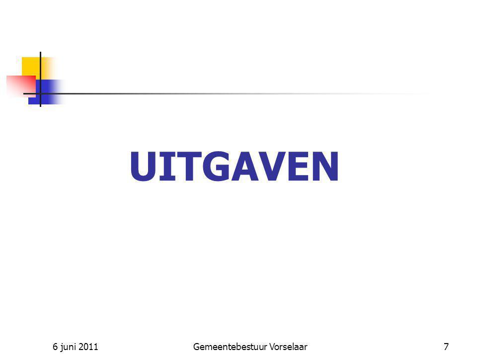 6 juni 2011Gemeentebestuur Vorselaar8 UITGAVEN – Gewone dienst vorige jaren Nieuw krediet : diverse afrekeningen o.a.