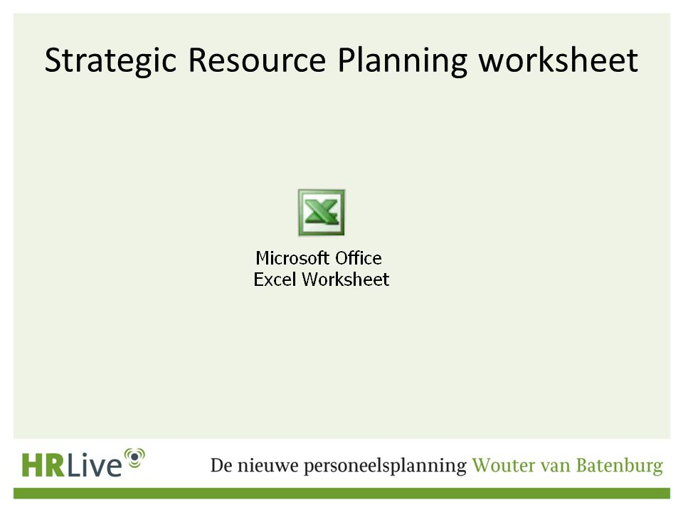Strategic Resource Planning worksheet