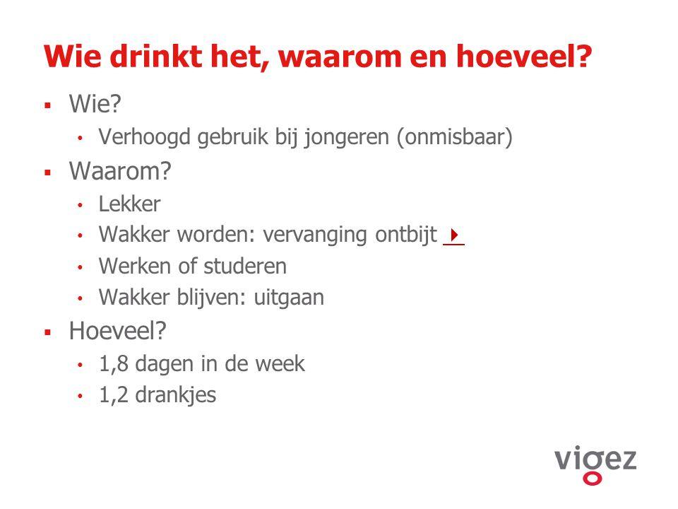 Wie drinkt het, waarom en hoeveel?  Wie? Verhoogd gebruik bij jongeren (onmisbaar)  Waarom? Lekker Wakker worden: vervanging ontbijt   Werken of s