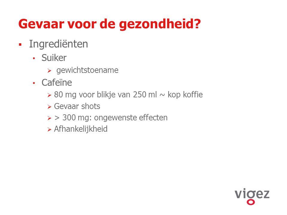 Gevaar voor de gezondheid?  Ingrediënten Suiker  gewichtstoename Cafeïne  80 mg voor blikje van 250 ml ~ kop koffie  Gevaar shots  > 300 mg: onge