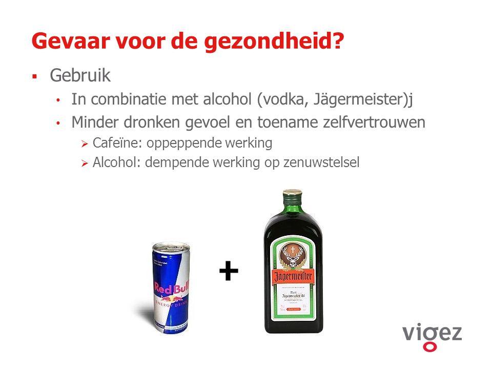 Gevaar voor de gezondheid?  Gebruik In combinatie met alcohol (vodka, Jägermeister)j Minder dronken gevoel en toename zelfvertrouwen  Cafeïne: oppep