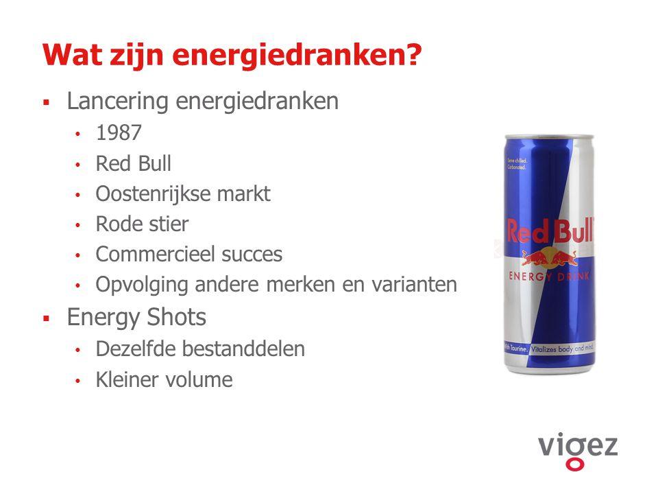 Wat zijn energiedranken?  Lancering energiedranken 1987 Red Bull Oostenrijkse markt Rode stier Commercieel succes Opvolging andere merken en variante