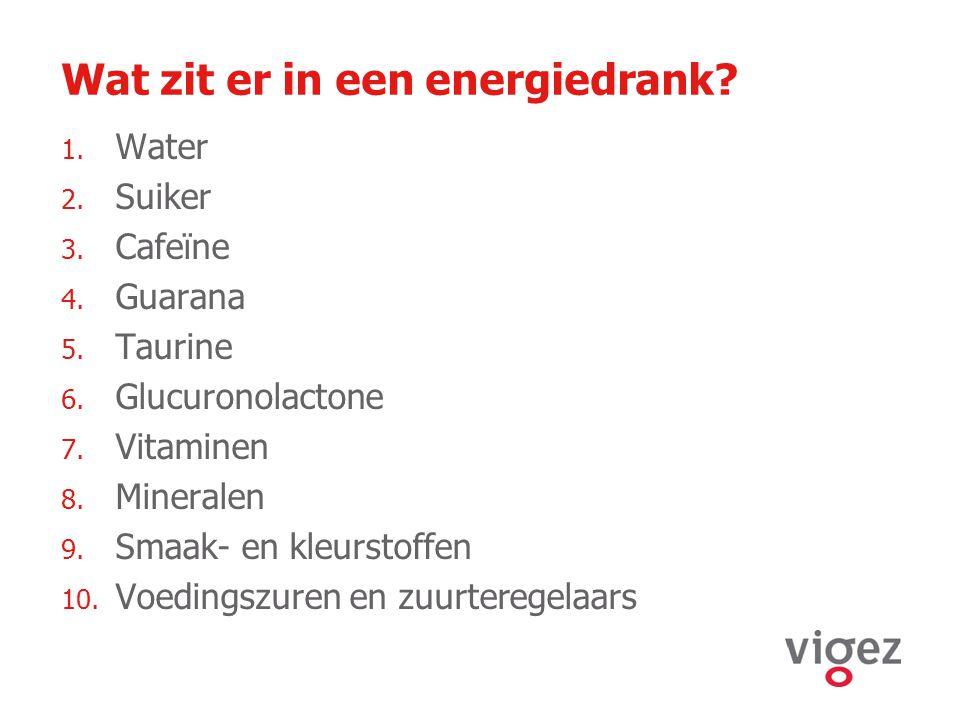 Wat zit er in een energiedrank? 1. Water 2. Suiker 3. Cafeïne 4. Guarana 5. Taurine 6. Glucuronolactone 7. Vitaminen 8. Mineralen 9. Smaak- en kleurst