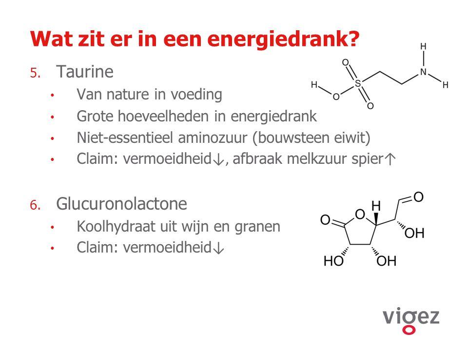 Wat zit er in een energiedrank? 5. Taurine Van nature in voeding Grote hoeveelheden in energiedrank Niet-essentieel aminozuur (bouwsteen eiwit) Claim: