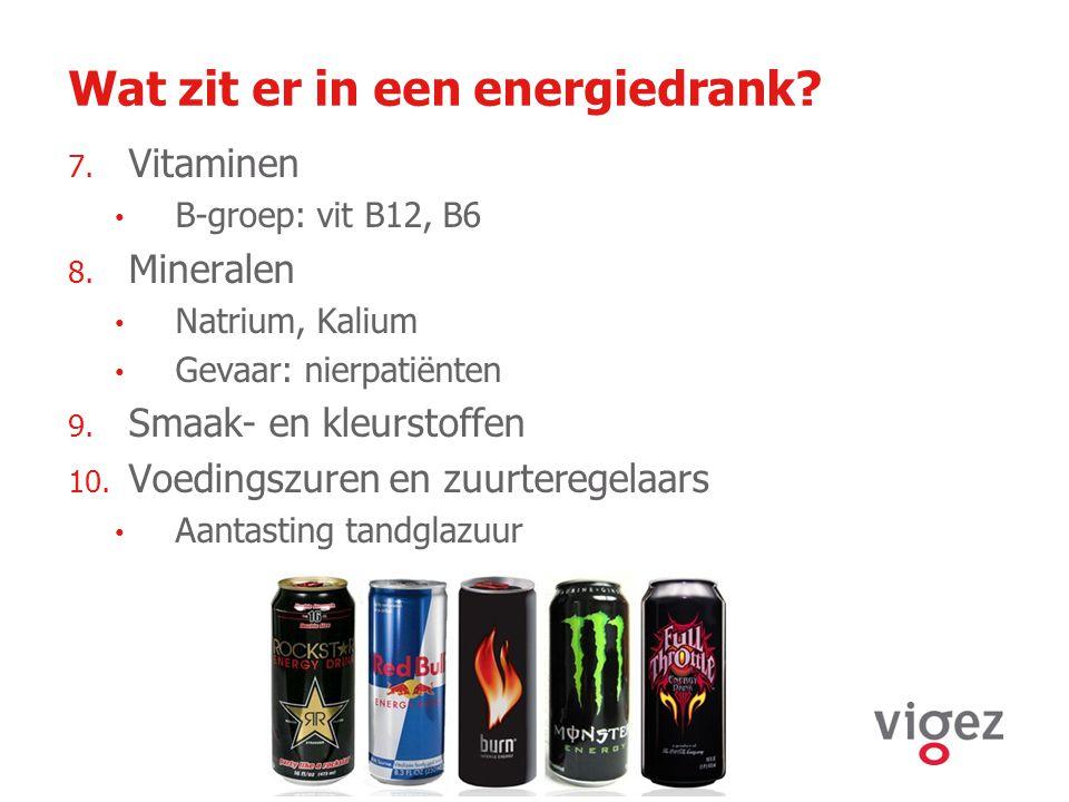 Wat zit er in een energiedrank? 7. Vitaminen B-groep: vit B12, B6 8. Mineralen Natrium, Kalium Gevaar: nierpatiënten 9. Smaak- en kleurstoffen 10. Voe