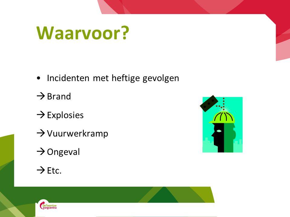 Waarvoor? Incidenten met heftige gevolgen  Brand  Explosies  Vuurwerkramp  Ongeval  Etc.