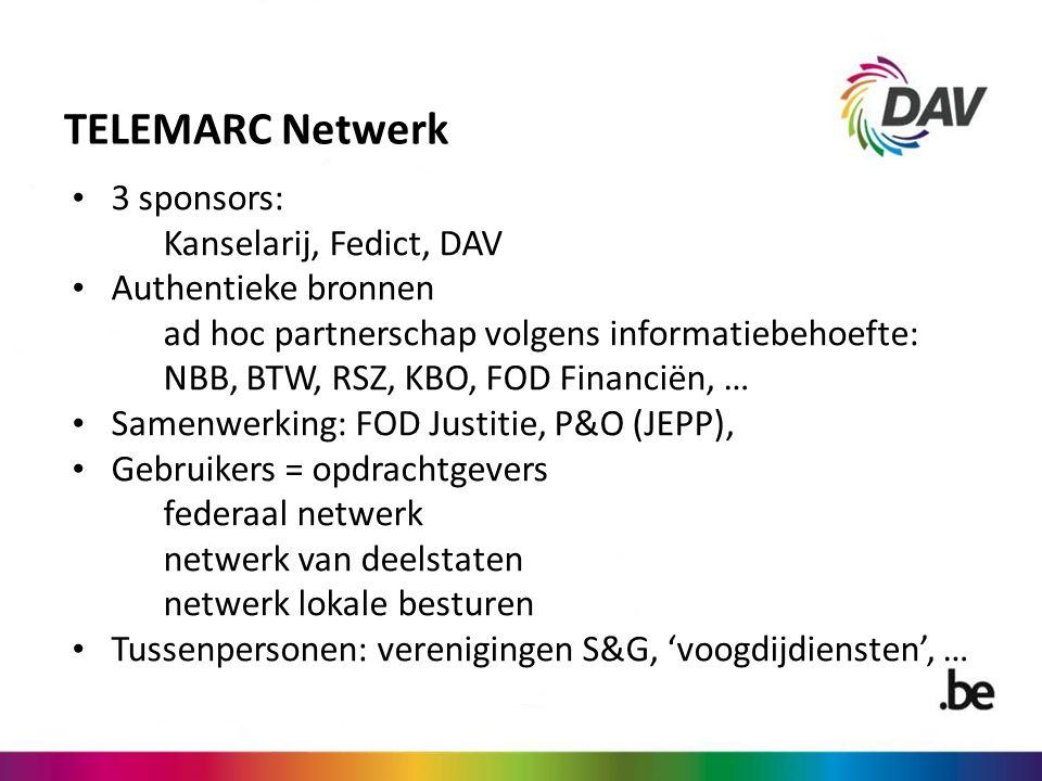 TELEMARC Netwerk 3 sponsors: Kanselarij, Fedict, DAV Authentieke bronnen ad hoc partnerschap volgens informatiebehoefte: NBB, BTW, RSZ, KBO, FOD Financiën, … Samenwerking: FOD Justitie, P&O (JEPP), Gebruikers = opdrachtgevers federaal netwerk netwerk van deelstaten netwerk lokale besturen Tussenpersonen: verenigingen S&G, 'voogdijdiensten', …