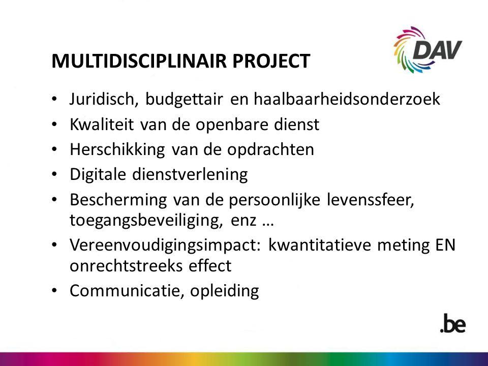 MULTIDISCIPLINAIR PROJECT Juridisch, budgettair en haalbaarheidsonderzoek Kwaliteit van de openbare dienst Herschikking van de opdrachten Digitale die