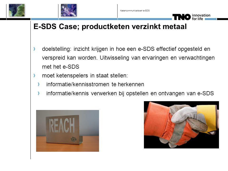 Ketencommunicatie en e-SDS E-SDS Case; productketen verzinkt metaal doelstelling: inzicht krijgen in hoe een e-SDS effectief opgesteld en verspreid ka