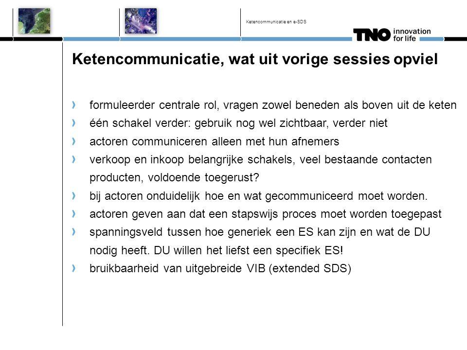 Ketencommunicatie en e-SDS Ketencommunicatie, wat uit vorige sessies opviel formuleerder centrale rol, vragen zowel beneden als boven uit de keten één