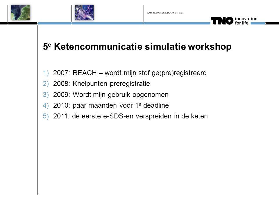 5 e Ketencommunicatie simulatie workshop 1)2007: REACH – wordt mijn stof ge(pre)registreerd 2)2008: Knelpunten preregistratie 3)2009: Wordt mijn gebru