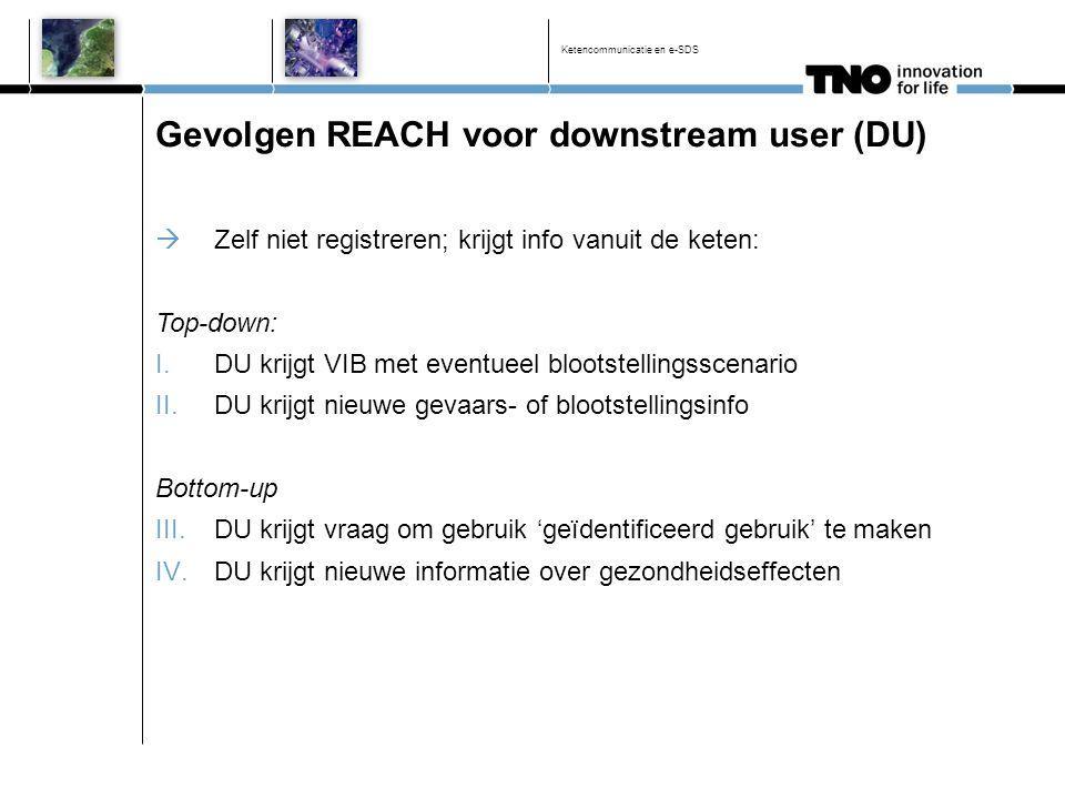 Gevolgen REACH voor downstream user (DU)  Zelf niet registreren; krijgt info vanuit de keten: Top-down: I.DU krijgt VIB met eventueel blootstellingss