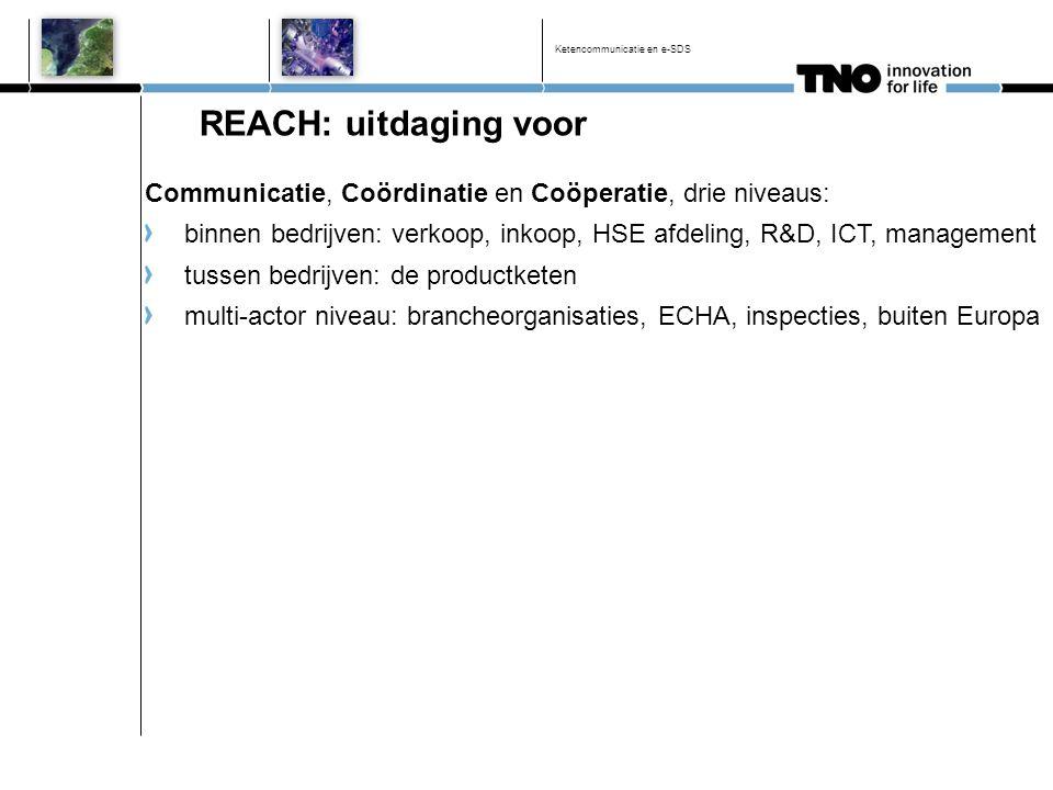 Ketencommunicatie en e-SDS REACH: uitdaging voor Communicatie, Coördinatie en Coöperatie, drie niveaus: binnen bedrijven: verkoop, inkoop, HSE afdelin