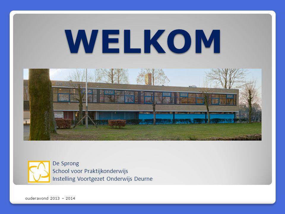 WELKOM De Sprong School voor Praktijkonderwijs Instelling Voortgezet Onderwijs Deurne ouderavond 2013 – 2014
