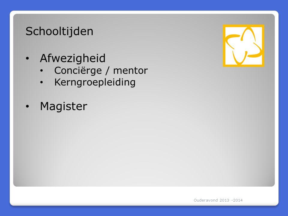Ouderavond 2013 -2014 Schooltijden Afwezigheid Conciërge / mentor Kerngroepleiding Magister