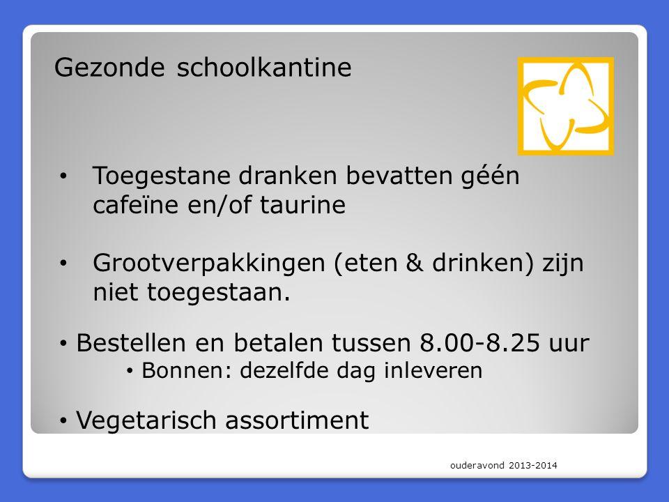 ouderavond 2013-2014 Gezonde schoolkantine Toegestane dranken bevatten géén cafeïne en/of taurine Grootverpakkingen (eten & drinken) zijn niet toegest