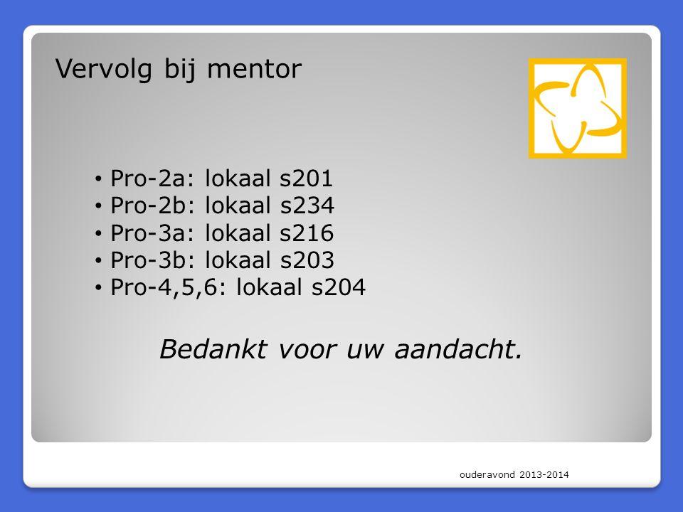 ouderavond 2013-2014 Vervolg bij mentor Pro-2a: lokaal s201 Pro-2b: lokaal s234 Pro-3a: lokaal s216 Pro-3b: lokaal s203 Pro-4,5,6: lokaal s204 Bedankt