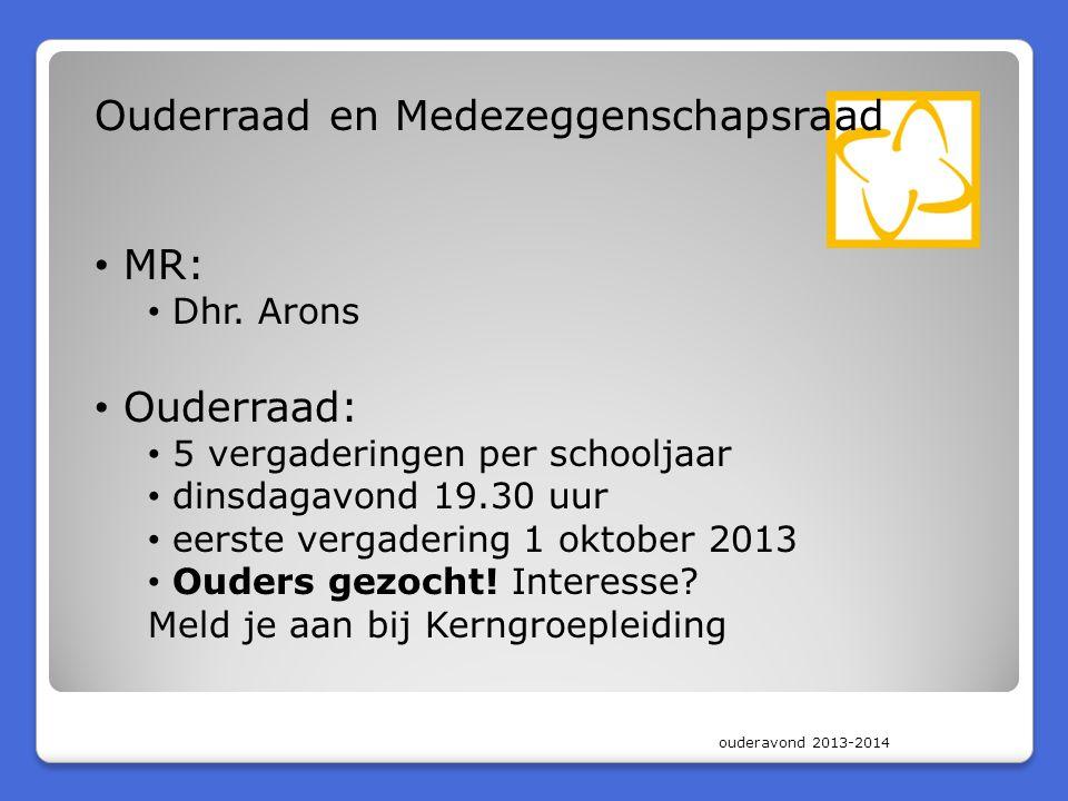 ouderavond 2013-2014 Ouderraad en Medezeggenschapsraad MR: Dhr. Arons Ouderraad: 5 vergaderingen per schooljaar dinsdagavond 19.30 uur eerste vergader