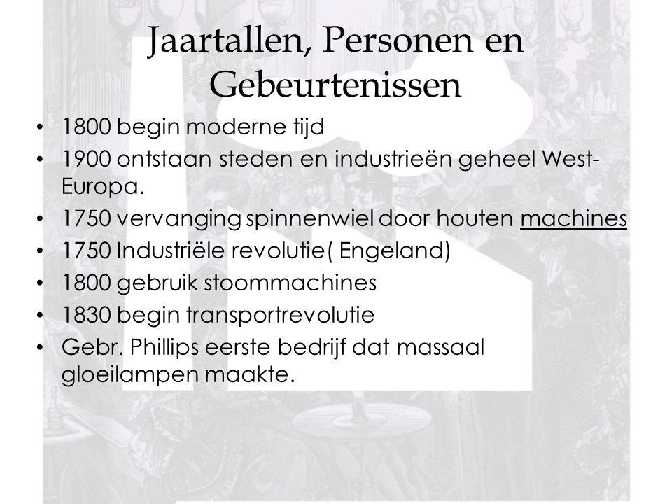 Jaartallen, Personen en Gebeurtenissen 1800 begin moderne tijd 1900 ontstaan steden en industrieën geheel West- Europa.