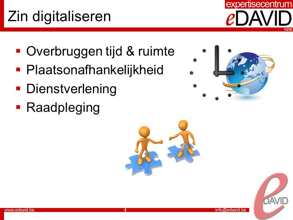4 Zin digitaliseren  Overbruggen tijd & ruimte  Plaatsonafhankelijkheid  Dienstverlening  Raadpleging