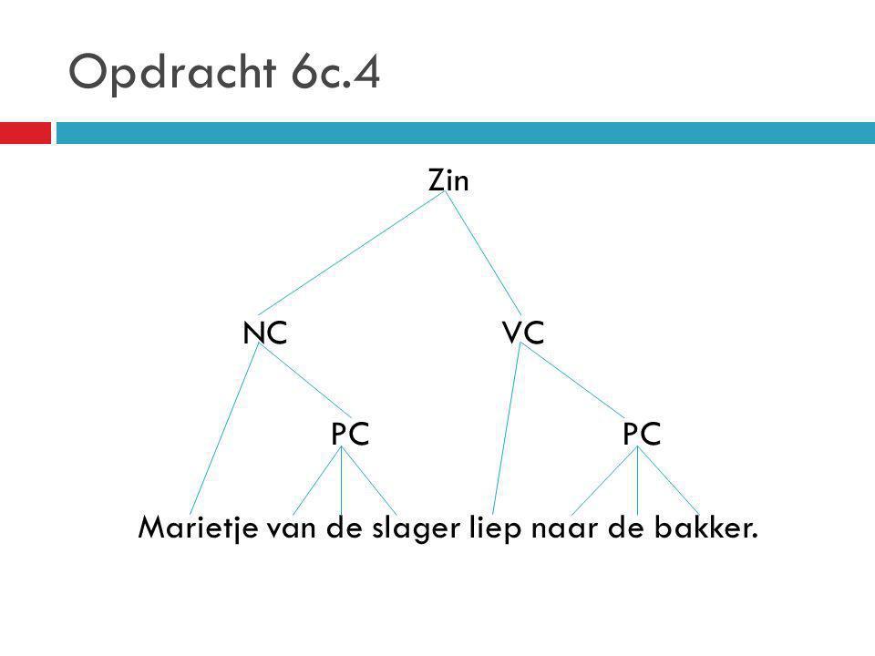 Opdracht 6c.4 Zin NC VC PC Marietje van de slager liep naar de bakker.