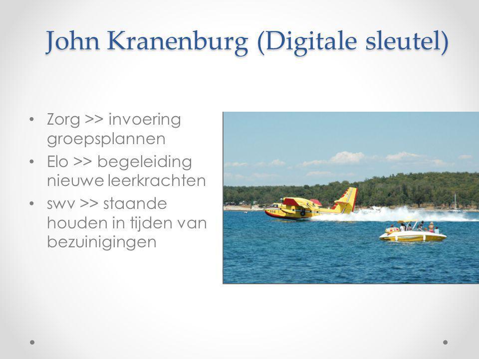 John Kranenburg (Digitale sleutel) Zorg >> invoering groepsplannen Elo >> begeleiding nieuwe leerkrachten swv >> staande houden in tijden van bezuinig