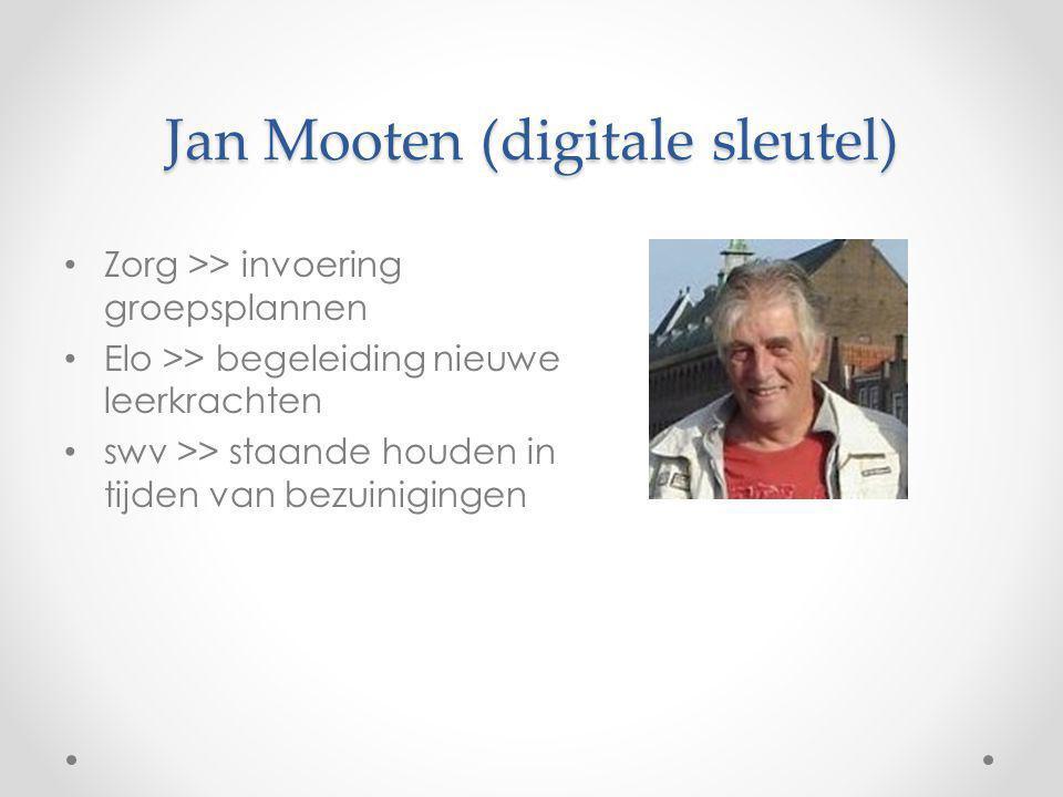Jan Mooten (digitale sleutel) Zorg >> invoering groepsplannen Elo >> begeleiding nieuwe leerkrachten swv >> staande houden in tijden van bezuinigingen