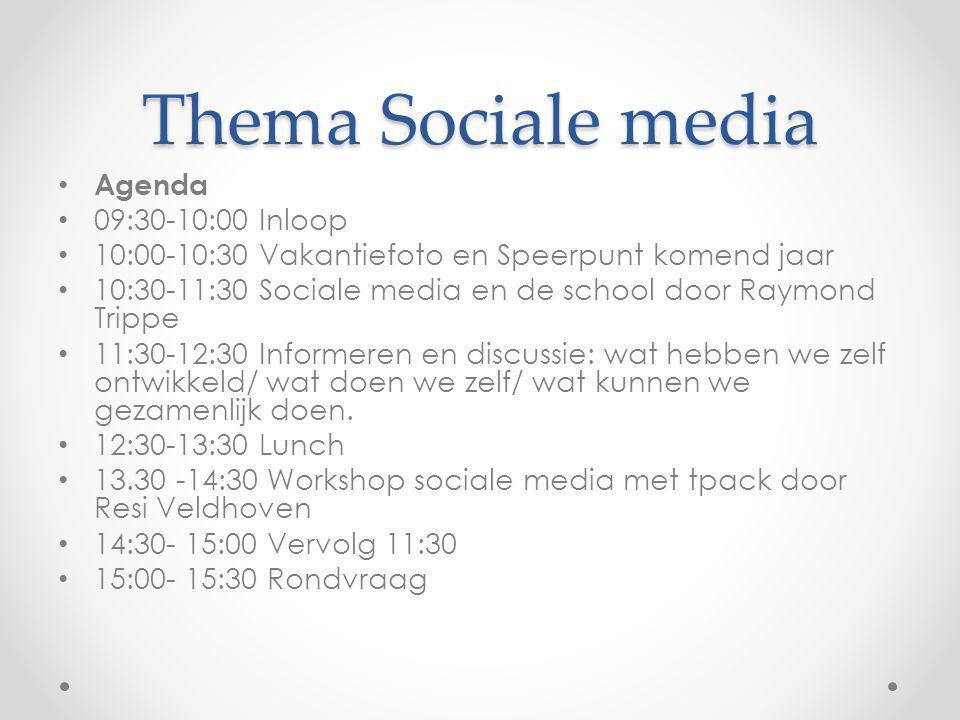 Thema Sociale media Agenda 09:30-10:00 Inloop 10:00-10:30 Vakantiefoto en Speerpunt komend jaar 10:30-11:30 Sociale media en de school door Raymond Tr