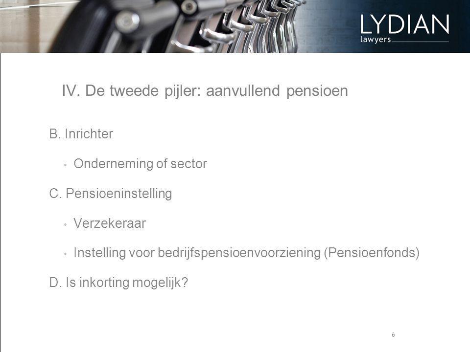 6 IV. De tweede pijler: aanvullend pensioen B. Inrichter Onderneming of sector C. Pensioeninstelling Verzekeraar Instelling voor bedrijfspensioenvoorz