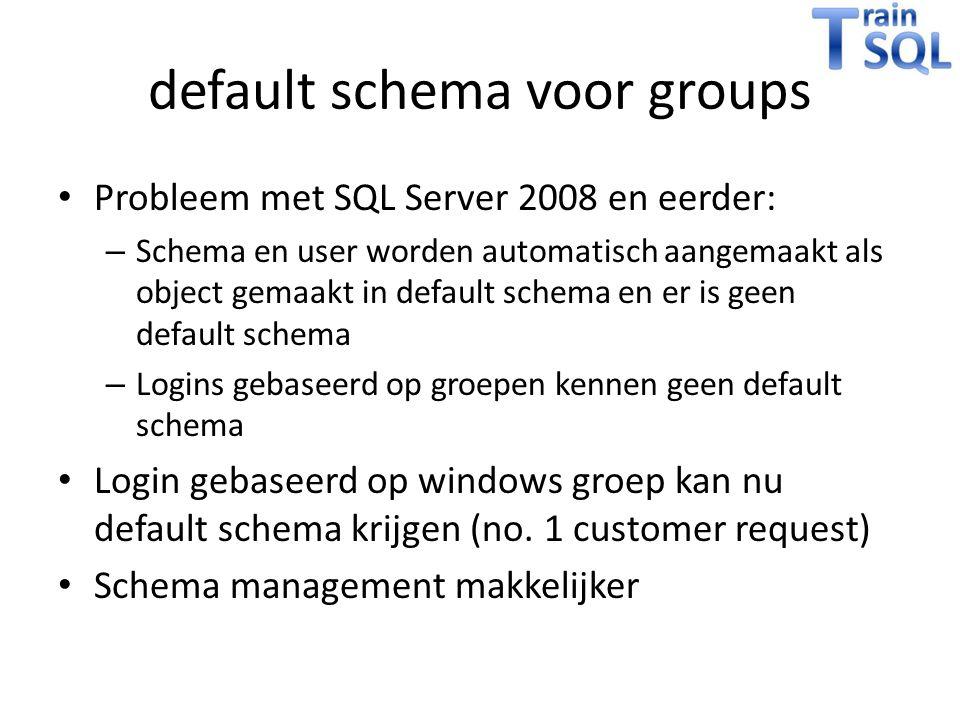 default schema voor groups Probleem met SQL Server 2008 en eerder: – Schema en user worden automatisch aangemaakt als object gemaakt in default schema en er is geen default schema – Logins gebaseerd op groepen kennen geen default schema Login gebaseerd op windows groep kan nu default schema krijgen (no.