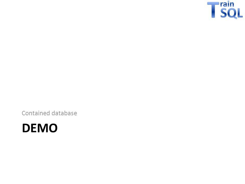 Tot slot EXEC sp_configure 'contained database authentication', 1 SELECT * FROM sys.dm_db_uncontained_entities ALTER DATABASE SET CONTAINMENT PARTIAL Niet alle features zijn te combineren met contained databases Er zijn enkele security implicties, oa: – Databases met guest account enabled zijn benaderbaar – Users met control database permission kunnen containment aanzetten en mensen toegang geven – … (zie BOL)