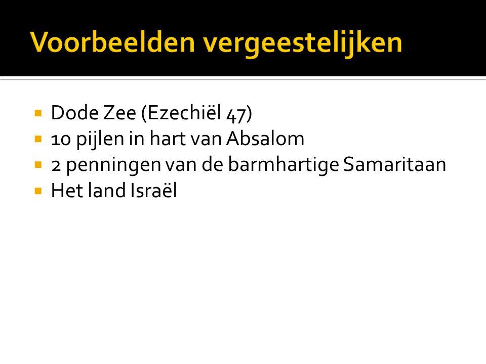  Dode Zee (Ezechiël 47)  10 pijlen in hart van Absalom  2 penningen van de barmhartige Samaritaan  Het land Israël