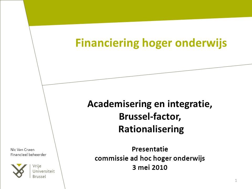 Financiering hoger onderwijs Academisering en integratie, Brussel-factor, Rationalisering Presentatie commissie ad hoc hoger onderwijs 3 mei 2010 1 Ni