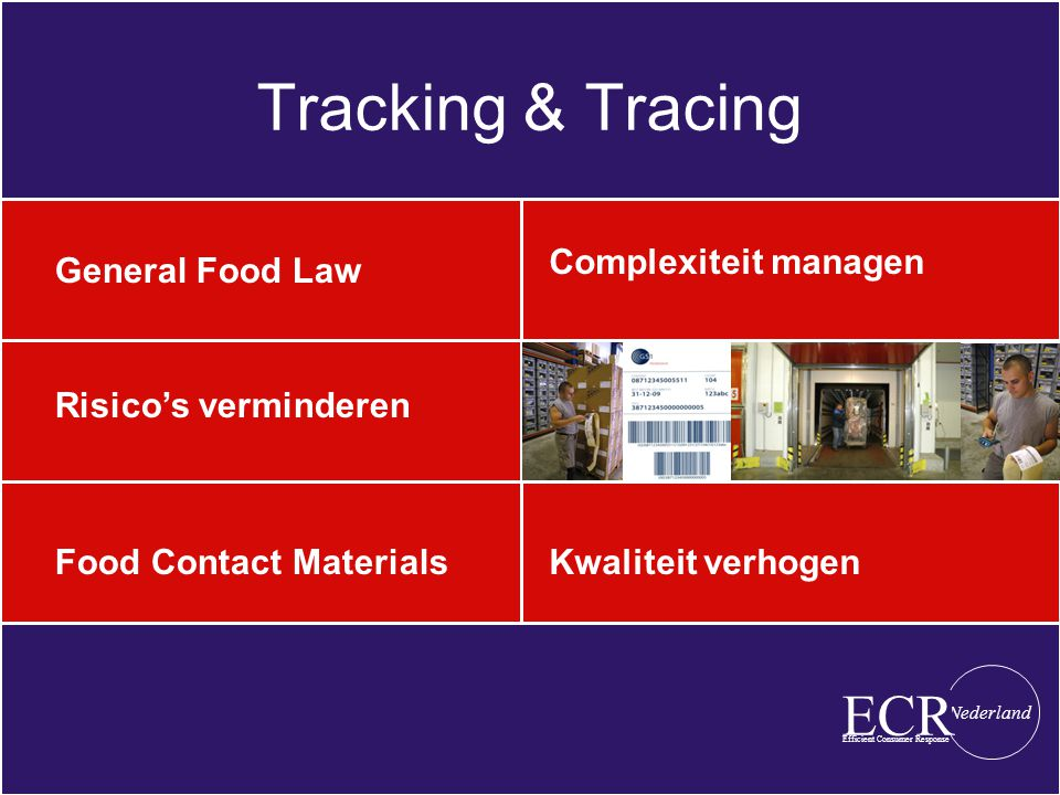 Tracking & Tracing General Food Law Complexiteit managen Efficient Consumer Response Nederland ECR Risico's verminderen Food Contact MaterialsKwaliteit verhogen