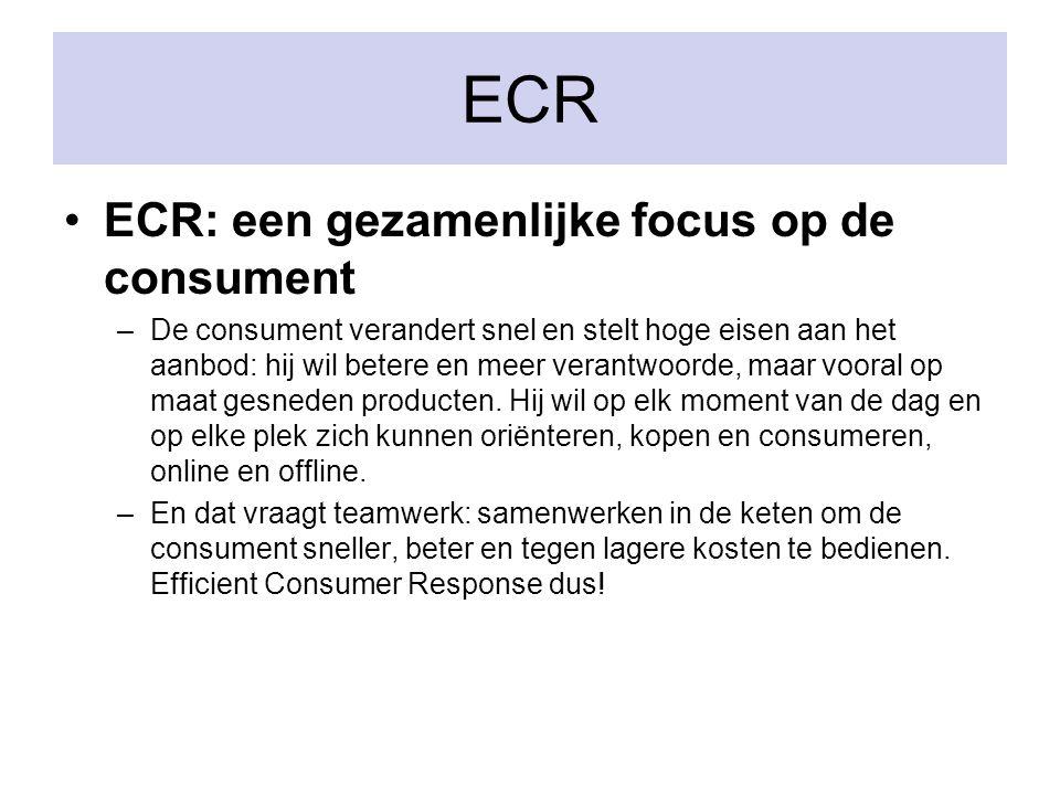 ECR: een gezamenlijke focus op de consument –De consument verandert snel en stelt hoge eisen aan het aanbod: hij wil betere en meer verantwoorde, maar