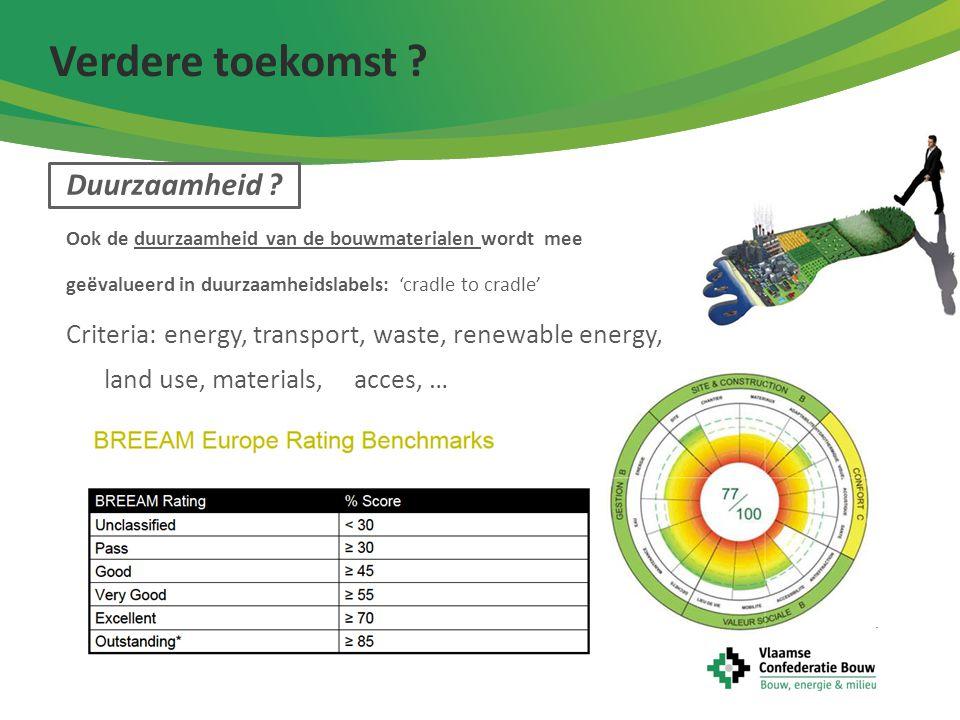 Duurzaamheid ? Ook de duurzaamheid van de bouwmaterialen wordt mee geëvalueerd in duurzaamheidslabels: 'cradle to cradle' Criteria: energy, transport,
