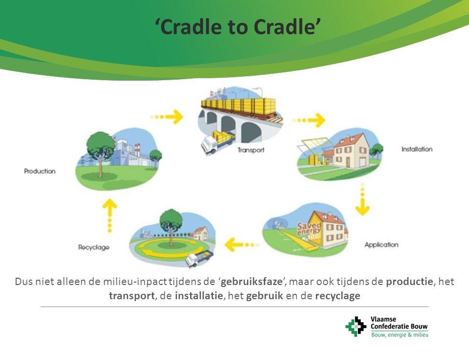 'Cradle to Cradle' Dus niet alleen de milieu-inpact tijdens de 'gebruiksfaze', maar ook tijdens de productie, het transport, de installatie, het gebru