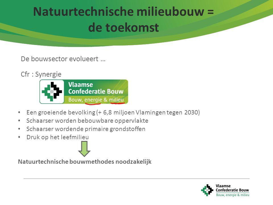 6 De bouwsector evolueert … Cfr : Synergie Natuurtechnische milieubouw = de toekomst Een groeiende bevolking (+ 6,8 miljoen Vlamingen tegen 2030) Scha